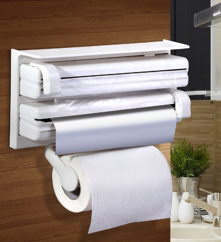 Cherry Triple Paper Dispenser & Holder For Cling Film Wrap Aluminium Foil And Kitchen Roll  available at amazon for Rs.699