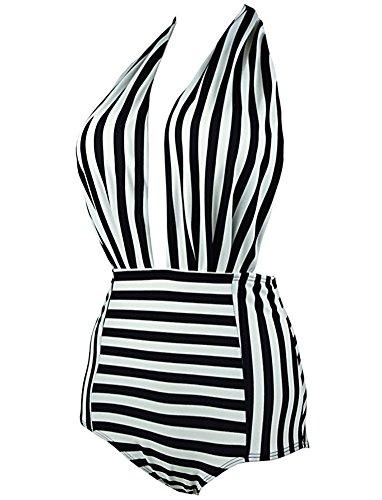 BLZ Costumi da Bagno Donna Intero a Righe Mare Halter Vita Alta Abito Spiaggia Monokini Sexy Vintage 2 spesavip