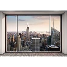 Komar Carta da parati con panorama di New York da attico con tecnica trompe l'oeil, modello 8-916,368x 254cm,pastello, confezione da 8
