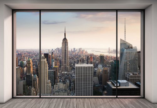 """Komar 8–916Lot de 8 panneaux muraux Motif Paysage urbain 368x254cm """"Penthouse trompe l'oeil Gratte-ciels de New York City"""" –Pastel"""