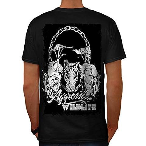 Aggressive Wildlife Habitat Land Men Black L T-shirt Back   Wellcoda