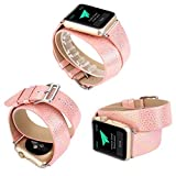 X-cool für Apple Watch Armband Replacement Wrist Band 38mm Weiß Bling Glitzer Leder Lange Double Kreis für Damen