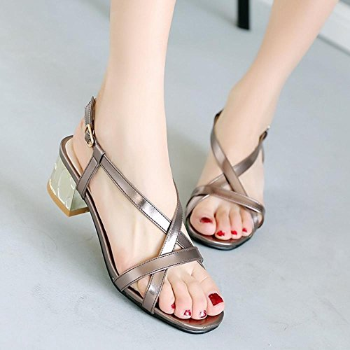 COOLCEPT Femmes Western Bloc Talons moyens Sangle de cheville Sandales College Style for Fille Gun Color