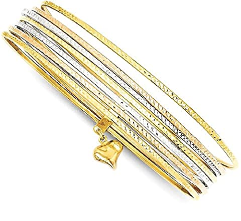 IceCarats 14k Tri Color Yellow White Gold Slip On 7 Bangles Bracelet Cuff Expandable Stackable For Women Bangle