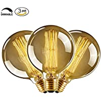 CMYK Edison bulb E27 40W Incandescent Vintage - Retro Old Globe 80mm Carbon Filament--3 pieza