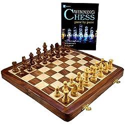 StonKraft Juego de ajedrez Hecho a Mano de Primera Calidad en Madera de 36 x 36 cm - Juego magnético Plegable de Madera con Almacenamiento