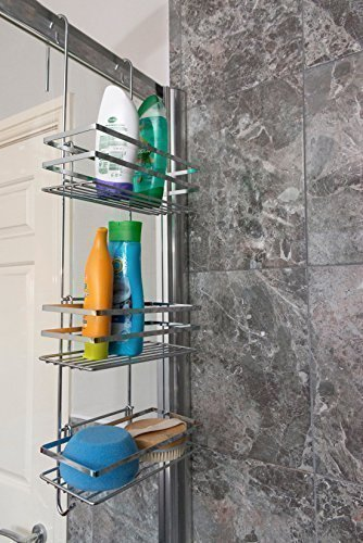 DIRECT ONLINE HOUSEWAR 3-Tier Quality Hanging Shower Caddy Bathroom Organiser, Metal, Chrome