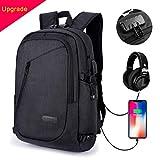 MODA Laptop-Rucksack wasserdicht und gute Qualität mehr Fächer (gilt 12-16 Zoll Laptop) mit USB Ladeport Kopfhöreranschluss und Anti-Diebstahl Schloß für Männer und Frauen auch Studenten