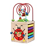 Aideal 7 in 1 Wooden Play Cube Activity Center Colorful Wooden Circle Bead Maze Educational Toy Set for Baby Kid