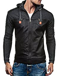 BOLF Herren Ökolederjacke Herrenjacke Sweatjacke Zipper Kunstlederjacke Herren Men Jacket Kapuze Zipper Parka Biker Urban Leder Slim Style Fit Top New Mix