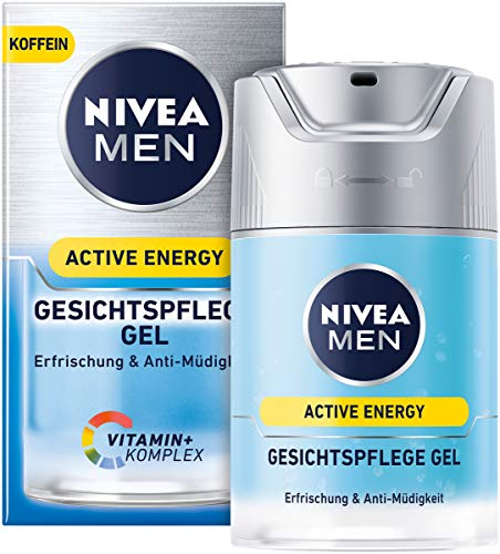 Belebende Gel (NIVEA MEN Active Energy Gesichtspflege Gel im 1er Pack (1 x 50 ml), belebende Gesichtscreme für Männer, Feuchtigkeitscreme gegen Zeichen von Müdigkeit)