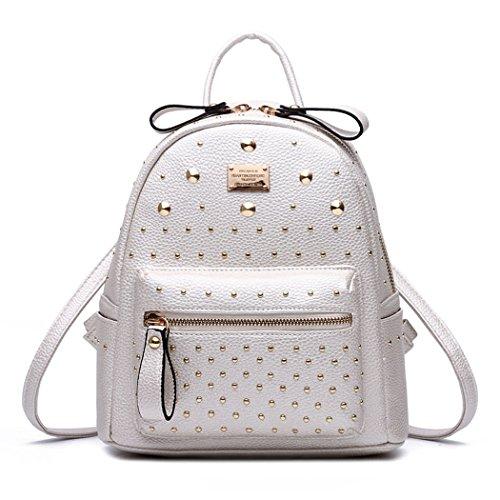 DEERWORD Damen Rucksackhandtaschen Schultertaschen Schulrucksack Tagesrucksack Laptoptasche Leder Nicht-Gerade Weiss