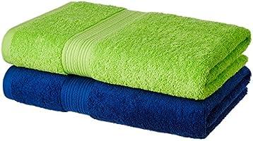 Solimo 2 Piece 500 GSM Cotton Bath Towel Set - Iris Blue and Spring Green