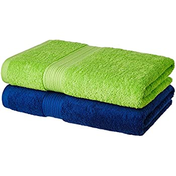 Amazon Brand - Solimo 100% Cotton 2 Piece Bath Towel Set, 500 GSM (Iris Blue and Spring Green)