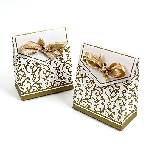 50tlg Gastgeschenke Kunstdruckpapier Hochzeit Geburtstag Party Geschenkbox(Golden)