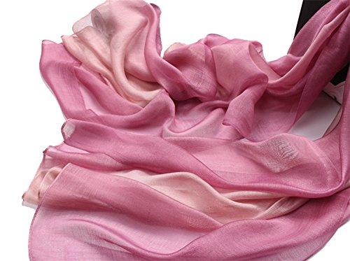 195*70cm Elegant stillvoll Seide Halstuch Stola Schal Farbverlauf Geschenk Freundin Damen (Pink)
