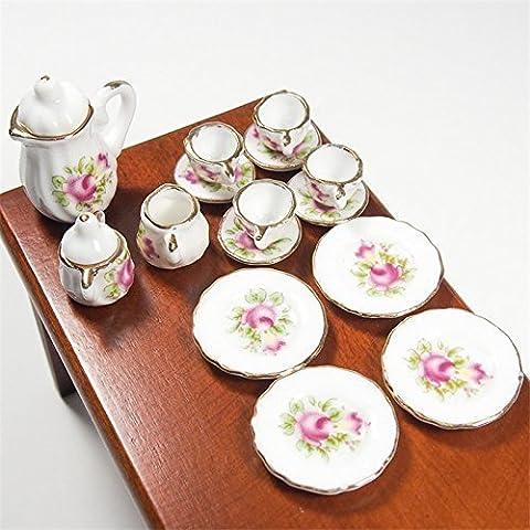 1:12 15PCS Pink Rose Chintz with Golden Trim Tea Cup Set Porcelain Miniature Dollhouse by Dollhouse