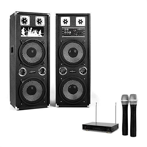 Karaoke-Anlage STAR-210A Aktiv-Passiv PA-Lautsprecher-Boxen Paar mit Funk Mikrofon Set (1200W Lautsprecherboxen, 2 Funkmikrofone, MP3-Bediensektion mit USB-und microSD-Slot) schwarz (Karaoke-speicherkarte)