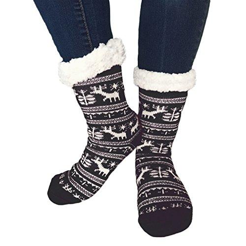 TOSKATOK® Damen Mädchen Fairisle Weihnachten Slipper Socken Stoppersocken mit Cosy weichem Fleecefutter (Schwarze Dora Stiefel Kind)
