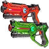 Light Battle Laser Tag Pistolen Set Active: 1x Lasertag Pistole Grün, 1x Spielzeugpistole Orange - LBAP10212D