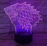 Dragon Totem 3D Light Light Juego de trono Recuerdo Grabado con láser Acrílico lámpara de noche con 7 colores táctiles