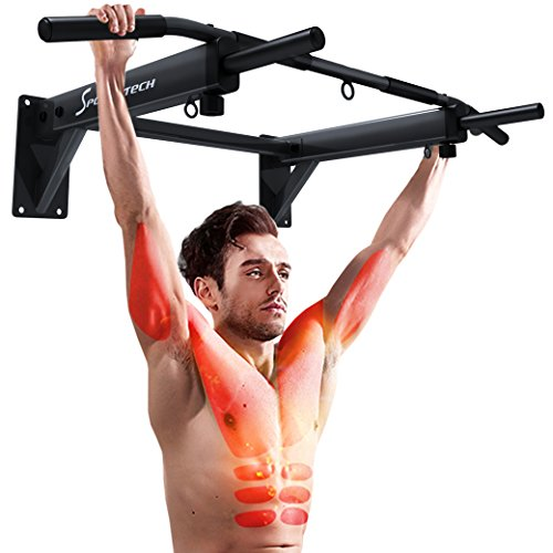 Sportstech Barre de Traction Fixation Murale KS300 Musculation Fitness 3 Anneaux TRX, Punching-Ball,...