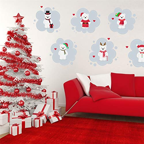 Merry Christmas Santa Claus Bear Wall Stickers for Kids Rooms Store Window Home Decor Year Wall Decals Pvc Mural Art Poster