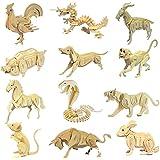 HuntGold Rompecabezas de madera 3D Puzzle chino Animal 12 Zodiac Modelo Intelectual juguete Hot regalo(pollo)
