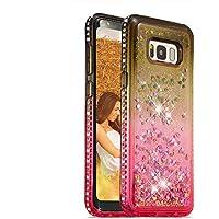 Flüssigkeit Hülle für Galaxy S8 Plus,Glitzer Handyhülle für Galaxy S8 Plus,Moiky Luxus Lustige Kreative Grau Rosa 3D Liebe Herz Crystal Schwebend Stoßdämpfend Diamant Handyhülle