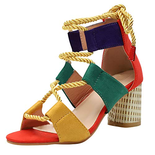 Sandalias Mujer Tacon Bloque Zapatos Verano Peep Toe