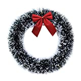 Qiao Nai (TM) Couronne Guirlande Fleur Artificielle Noël Arebr Sapin Nœud Deux Boucle Décor Fête Porte Entrée (Blanc)
