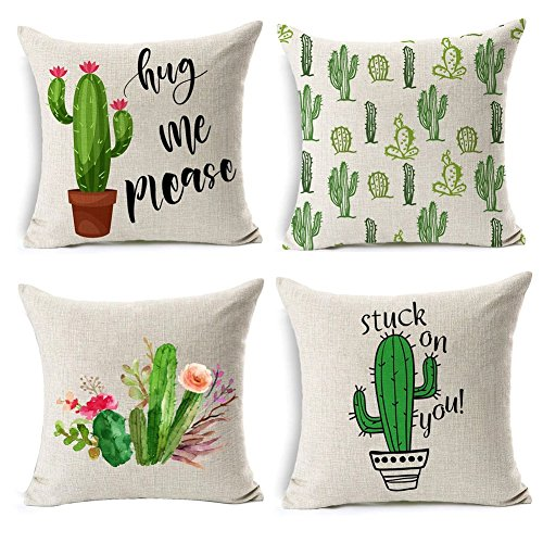 2a6ac236c74 Gspirit 4 Pack Verano Estilo Cactus Algodón Lino Decorativo Throw Pillow  Case Funda de Almohada 45x45cm