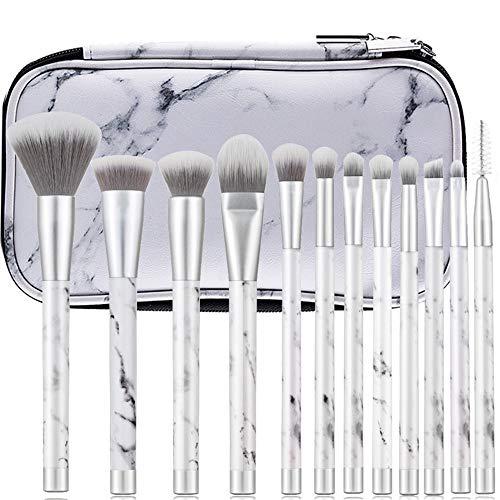 12 marmor make-up pinsel kunststoffgriff silber farbe make-up werkzeug gürteltasche, Brushes with...