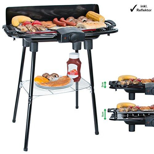 2000 Watt Elektro Grill mit Wärmereflektor und Standfüßen Grillfläche: 45cm x 22cm Inklusive Windfang Barbecue Elektrisch BBQ Tischgrill