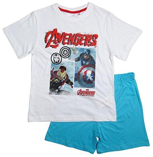 The Avengers Schlafanzug Kollektion 2016 Shorty 104 110 116 122 128 134 140 146 152 Jungen Shortie Pyjama Neu Marvel Weiß-Blau (140 - 146, Weiß-Blau) (Iron Man-kleid)