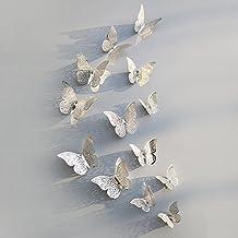12 Unds Pegatinas 3D mariposas plateadas decoracion navidad eventos fiestas hogar de OPEN BUY