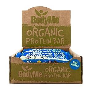 BodyMe Bio Vegan Protein Riegel | Roh Chia Vanille | 12 x 60g Vegane Proteinriegel | Glutenfrei | 16g Komplette Veganes Protein Snack | 3 Proteine | Alle Essentiellen Aminosäuren | Fitness Riegel