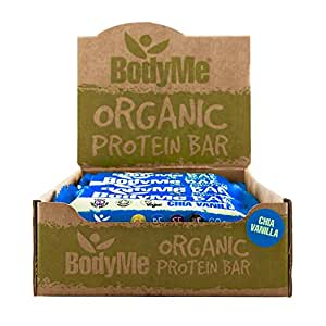 Bodyme organic vegan protein bar raw chia vanilla box for Raw food bars uk