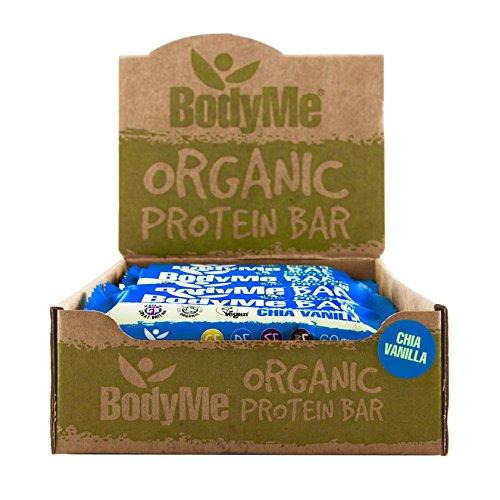 BodyMe Bio Vegane Protein Riegel | Roh Chia Vanille | 12 x 60g | Mit 3 Pflanze Proteine (Bio-health-bars)