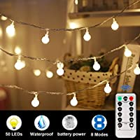 5M 50 LED Festoon Globe String Lights, RPANDA Water Resistant Lights,8 Modes with Remote Control, Transparent String Cable-for Festoon Party/Garden/Christmas/Patio/Wedding Decor (Warm)