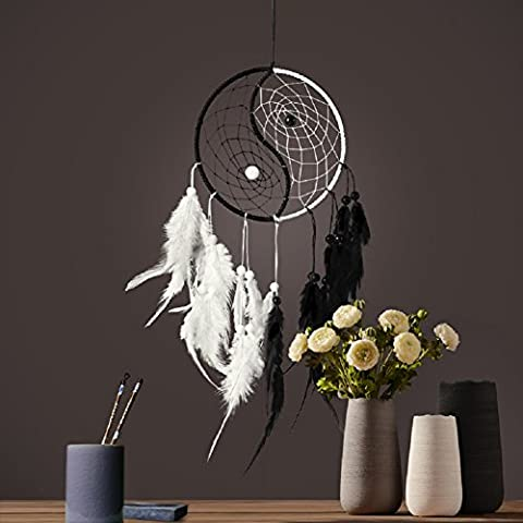 RockFoxOutlet Taiji Dream Catcher.The original Indian style decoration with Environmental protection processing wooden beads and Fumigated feathers.decorated in the car, living room, balcony,window...