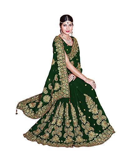 Women's Heavy Embroidery Work Designer Sari mit Ungesteckt Bluse/Top Mirchi Fashion Bridal Wedding saree (Designer Sarees Bridal)