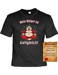 """Mein Körper ist Gottgleich! Geile Sprüche Fun T-Shirt - mit einer Gratis """"Spassvogel"""" Urkunde!"""