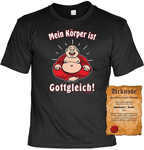 Sprüche Motiv Fun T-Shirt & Spassurkunde in schwarz Mein Körper ist Gottgleich Schwarz