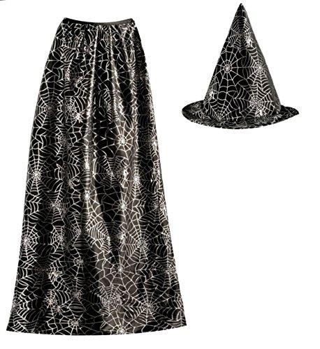 Islander Fashions Erwachsene Zauberer Spinnennetz Hut und Cape Set Unisex Halloween Kost�mzubeh�r - Arwen Für Erwachsene Kostüm