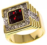 Isady Herren -  14 k (585)  vergoldet Quadratschliff   rot Oxyde de Zirconium