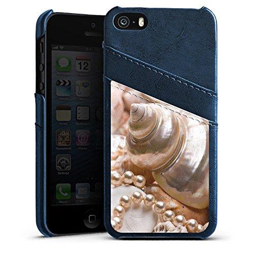 Apple iPhone 4 Housse Étui Silicone Coque Protection Coquille d'escargot Perles Coquillages Moules Étui en cuir bleu marine