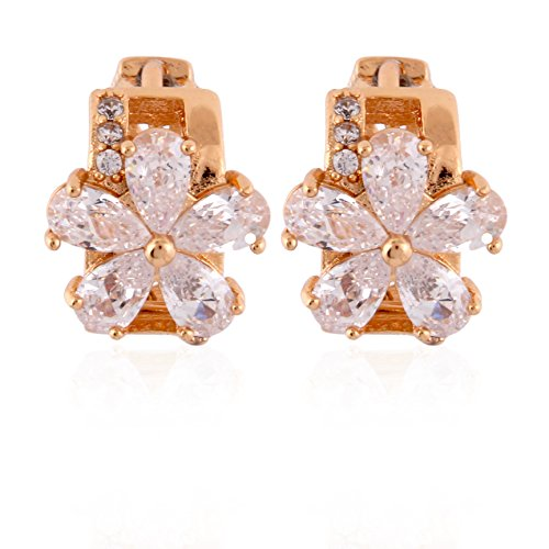 Fasherati Pink Gold Floral Hoops In Crystal For Girls