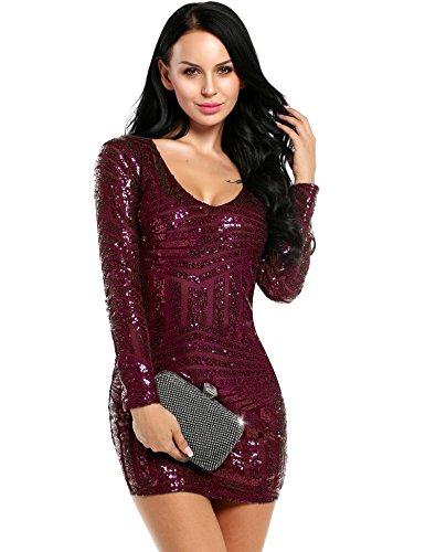 ACEVOG Damen Minikleid Bodyconkleid Abendkleid mit Pailletten verziert langen Ärmeln V-Ausschnitt Partykleid Dunkelrot