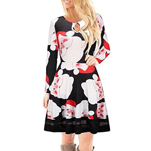 Damen Weihnachtskleid Sonnena Elch Gedruckt Langarm Spitze Kleid Rockabilly A-Line Vintage Swing Mini Kleid Partykleid Cocktailkleid Großen Größen Ballkleid Faltenrock (Black, M) (Mama Und Tochter Halloween Kostüme)